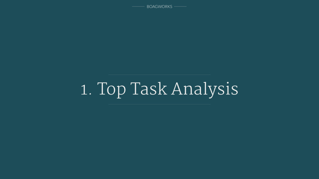 BOAGWORKS 1. Top Task Analysis
