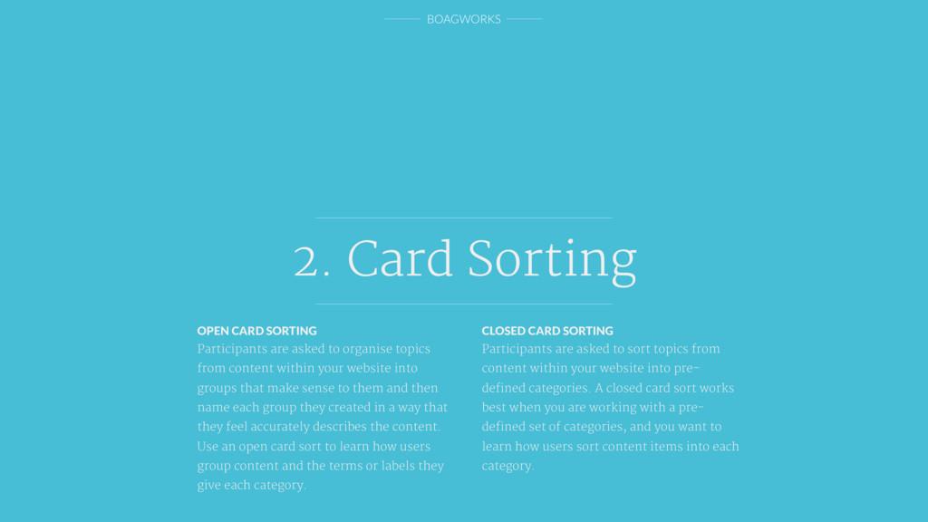 BOAGWORKS 2. Card Sorting OPEN CARD SORTING Par...