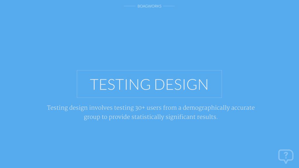 BOAGWORKS TESTING DESIGN Testing design involve...