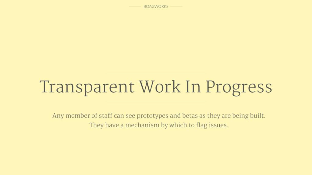 BOAGWORKS Transparent Work In Progress Any memb...