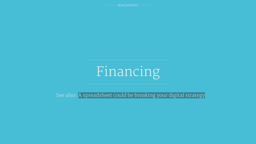 BOAGWORKS Financing See also: A spreadsheet cou...