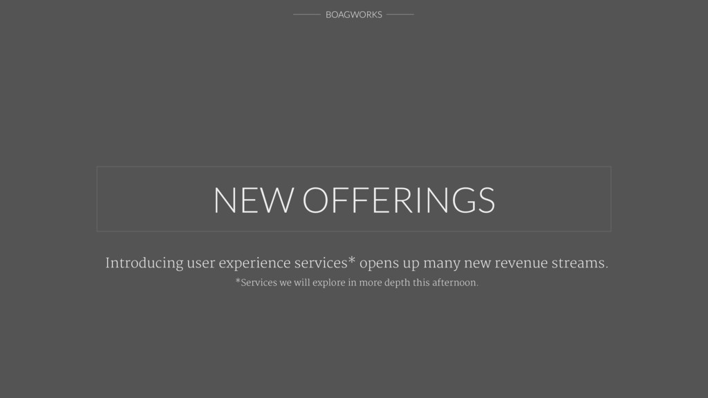 BOAGWORKS NEW OFFERINGS Introducing user experi...