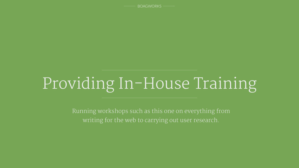 BOAGWORKS Providing In-House Training Running w...