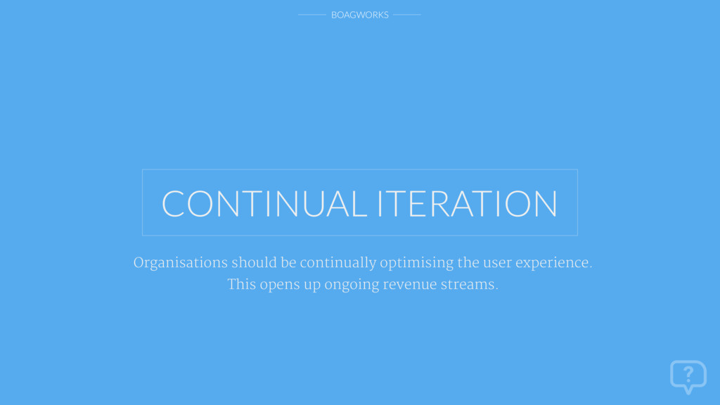 BOAGWORKS CONTINUAL ITERATION Organisations sho...
