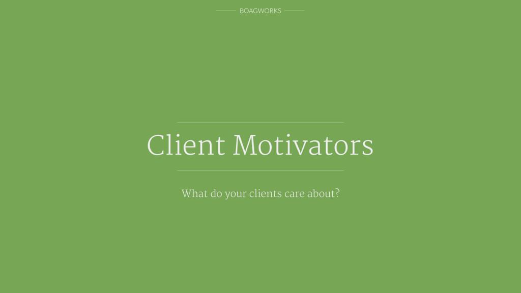 BOAGWORKS Client Motivators What do your client...