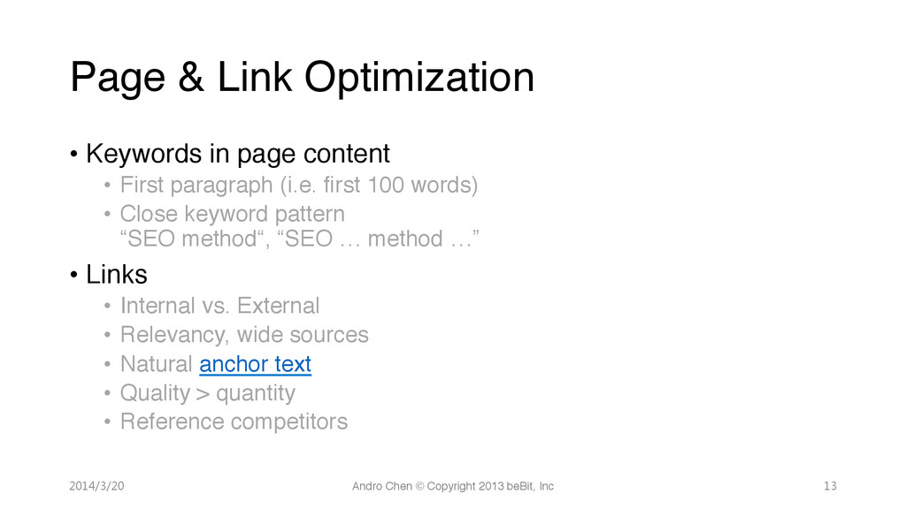 Page & Link Optimization • Keywords in page ...