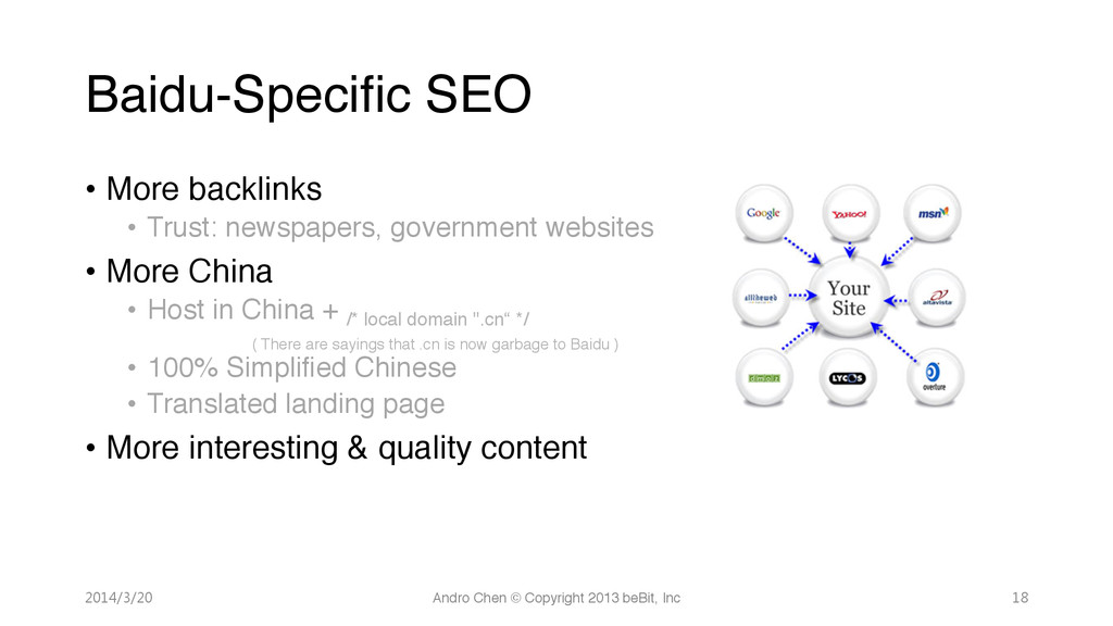 "Baidu-Specific SEO • More backlinks"" • Trust..."