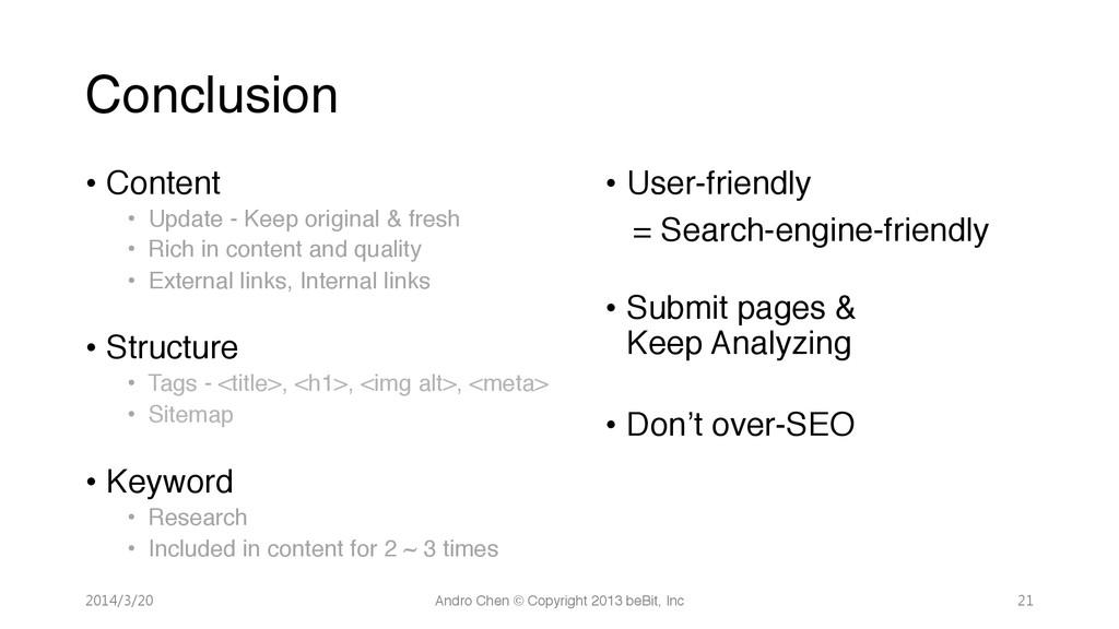 "Conclusion • Content"" • Update - Keep origi..."