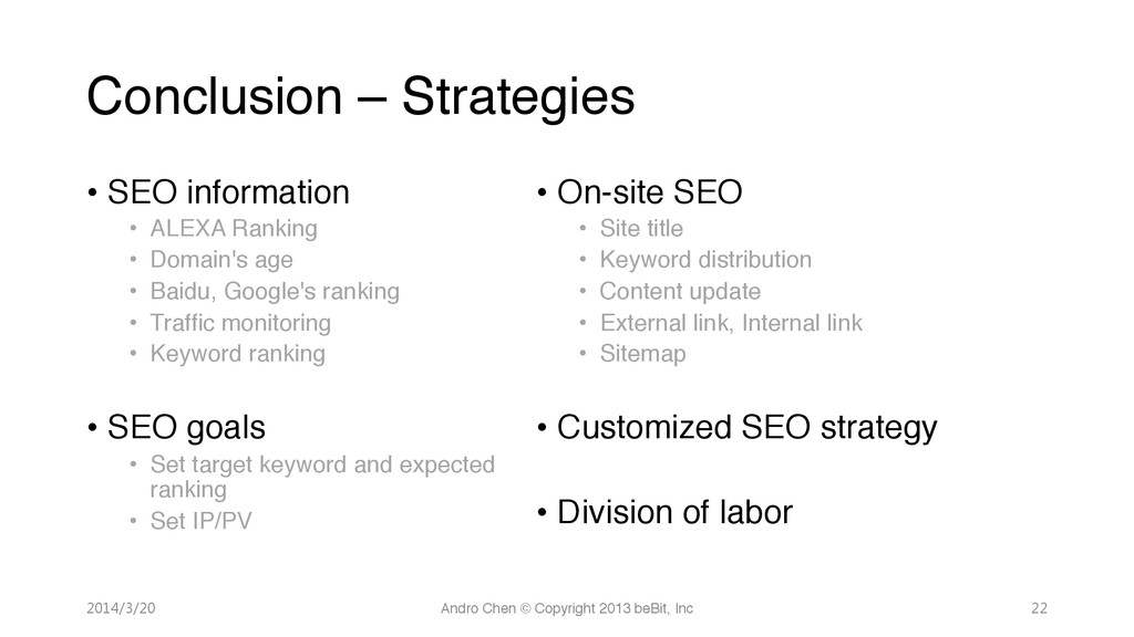 """Conclusion – Strategies • SEO information"""" •..."""