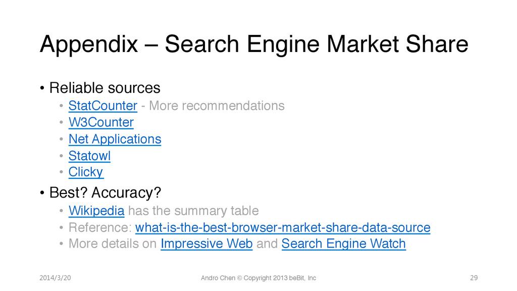 """Appendix – Search Engine Market Share"""" • Relia..."""