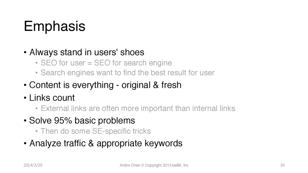 """Emphasis • Always stand in users' shoes"""" • ..."""