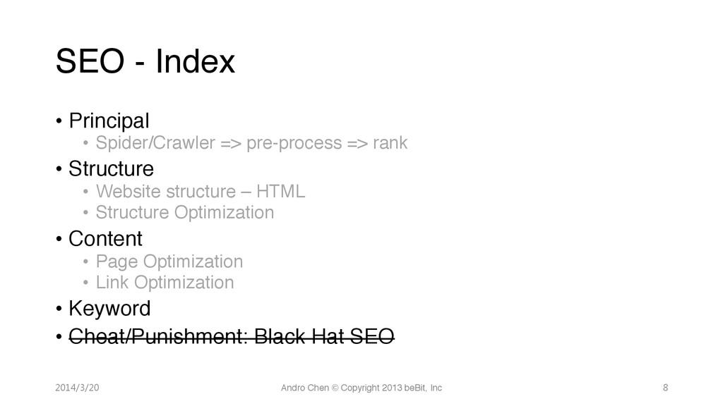 "SEO - Index • Principal"" • Spider/Crawler =..."