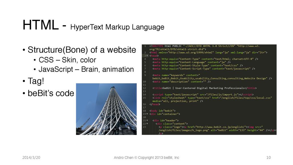 HTML - HyperText Markup Language • Structure...