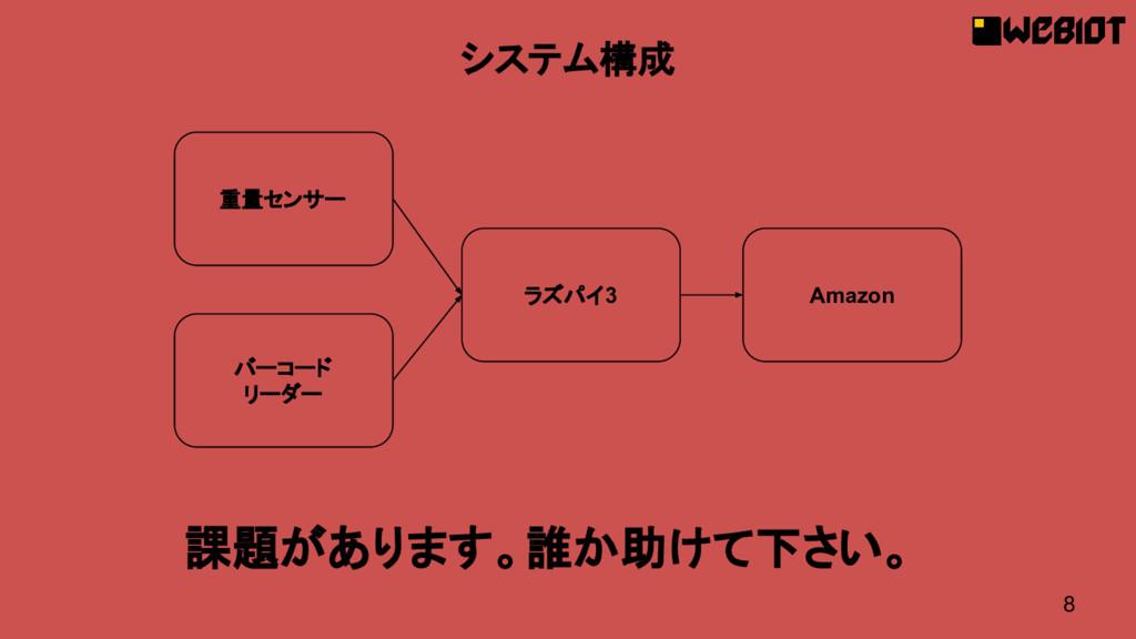 8 システム構成 重量センサー ラズパイ3 Amazon 課題があります。誰か助けて下さい。 ...