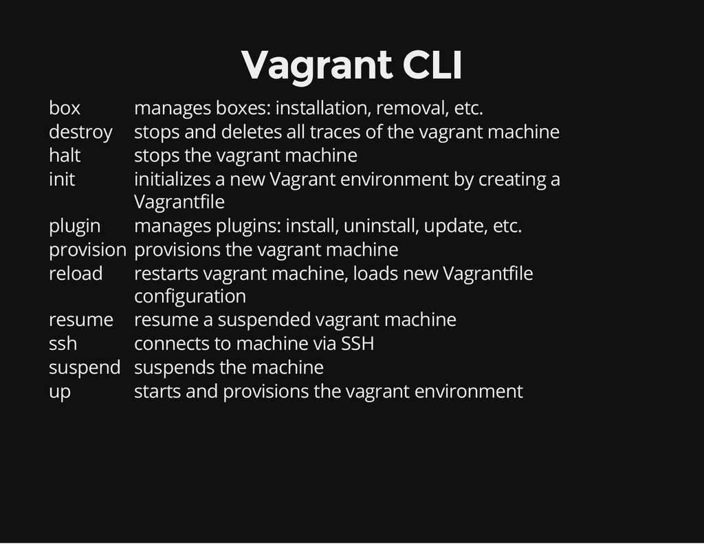 Vagrant CLI box manages boxes: installation, re...