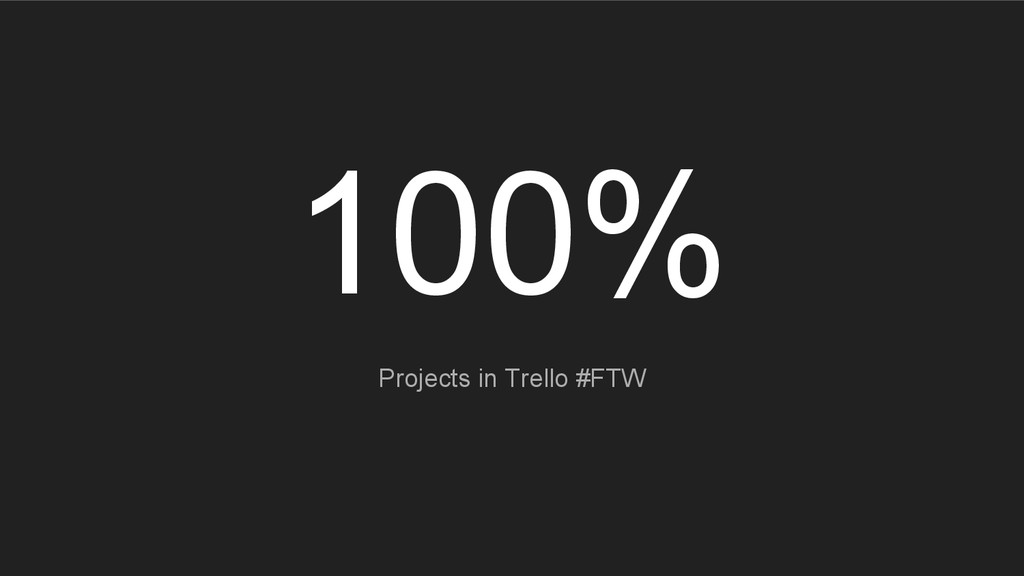 100% Projects in Trello #FTW