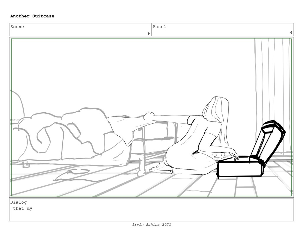Scene p Panel 4 Dialog that my Another Suitcase...