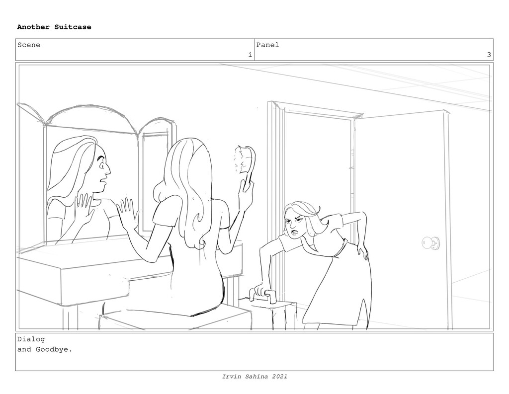 Scene i Panel 3 Dialog and Goodbye. Another Sui...