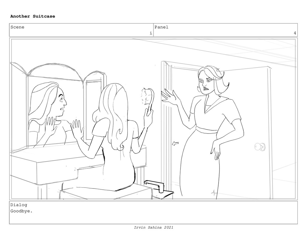 Scene i Panel 4 Dialog Goodbye. Another Suitcas...