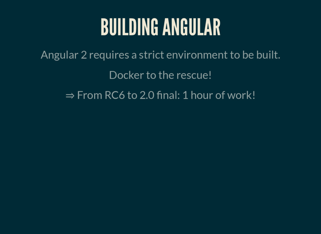 BUILDING ANGULAR Angular 2 requires a strict en...