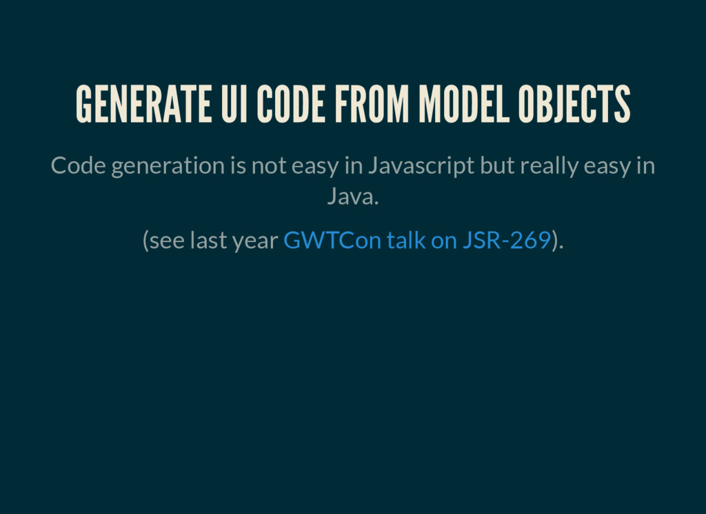 GENERATE UI CODE FROM MODEL OBJECTS Code genera...