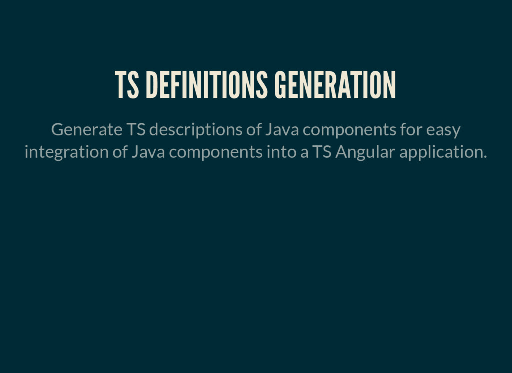 TS DEFINITIONS GENERATION Generate TS descripti...