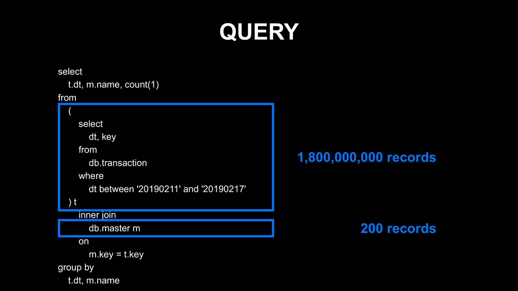 QUERY select t.dt, m.name, count(1) from ( sele...