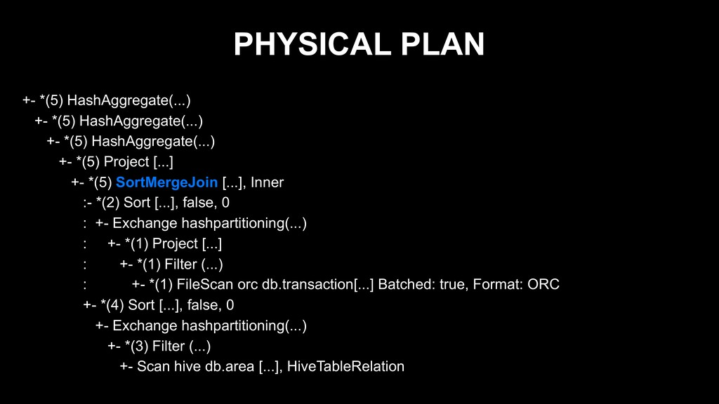 PHYSICAL PLAN +- *(5) HashAggregate(...) +- *(5...