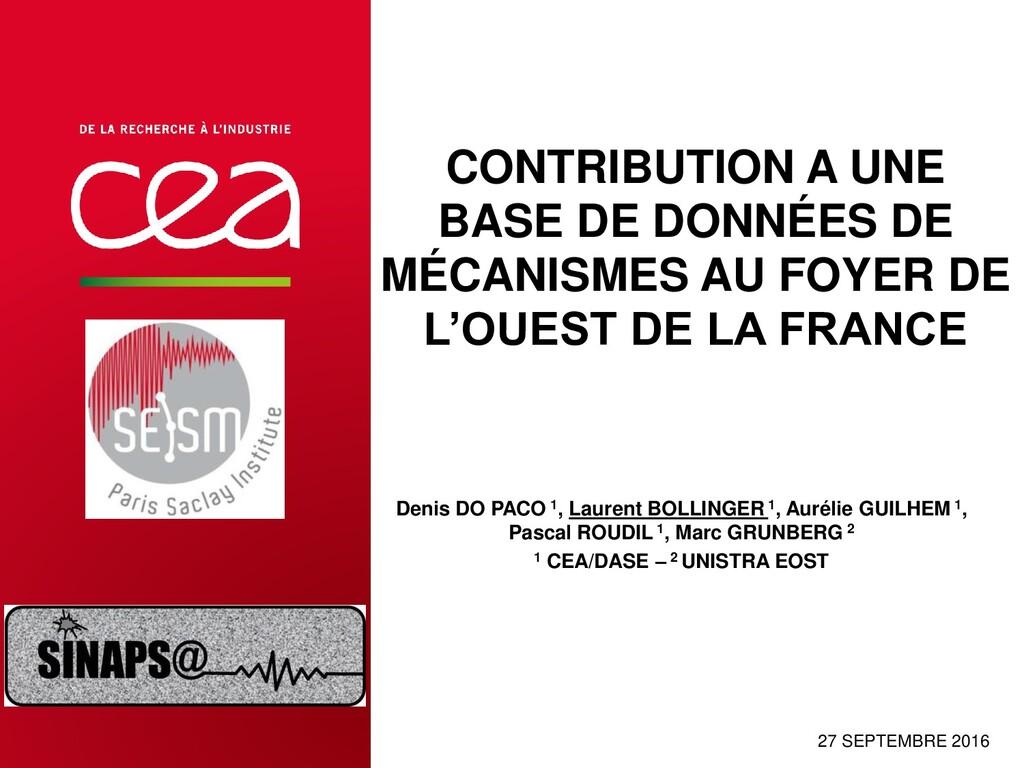 CONTRIBUTION A UNE BASE DE DONNÉES DE MÉCANISME...