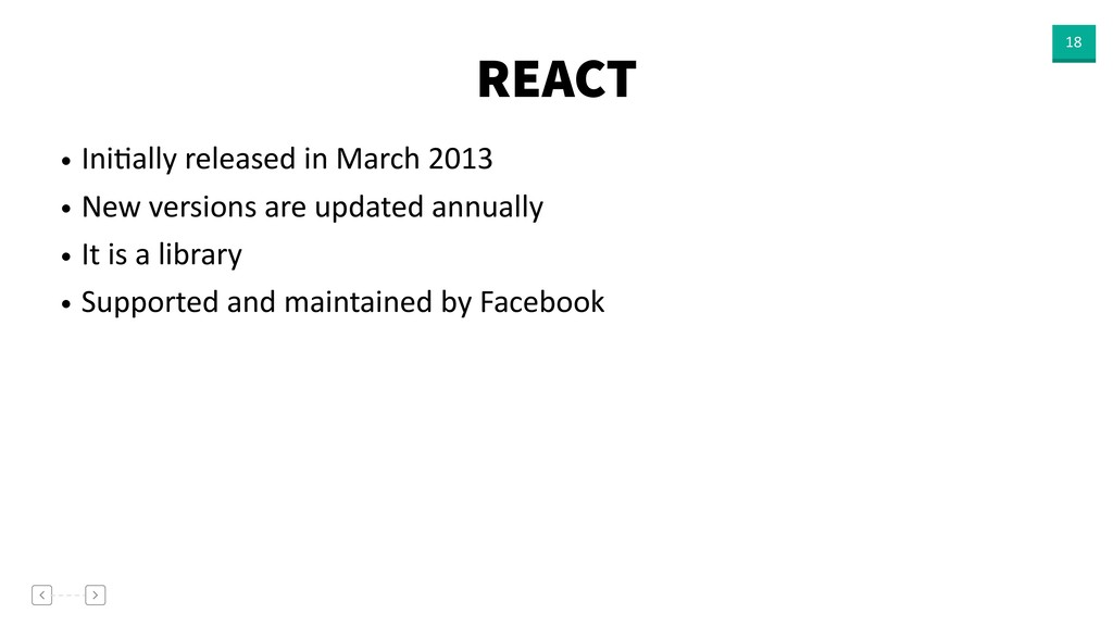 REACT 18 • IniVally released in March 2013 • Ne...