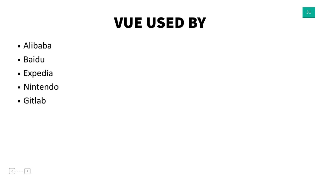 VUE USED BY 31 • Alibaba • Baidu • Expedia • Ni...