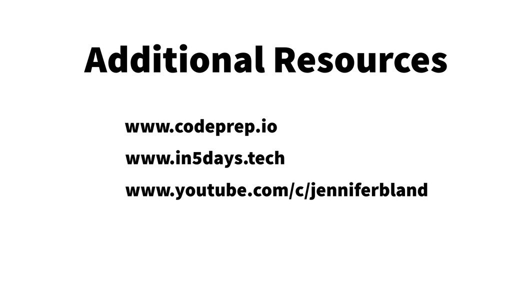 35 Additional Resources www.codeprep.io www.in5...