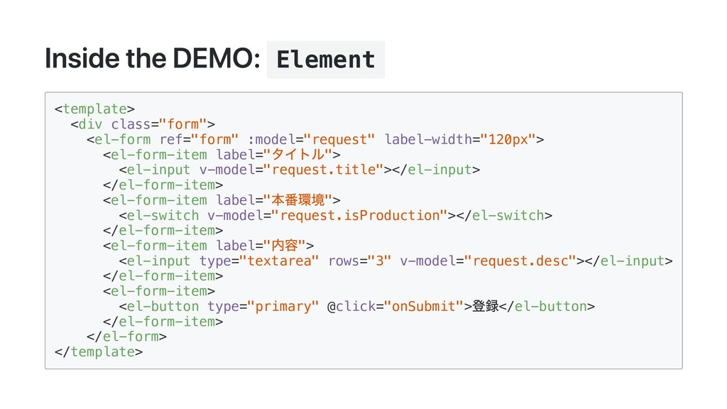 Inside the DEMO: Element <template> <div class=...
