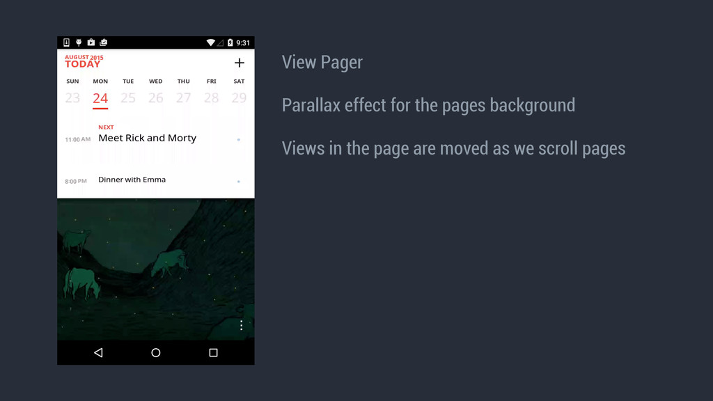 View Pager ! Parallax effect for the pages back...