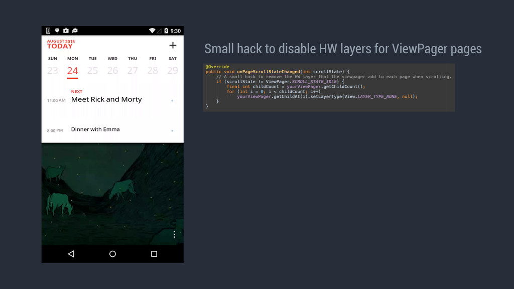 Small hack to disable HW layers for ViewPager p...