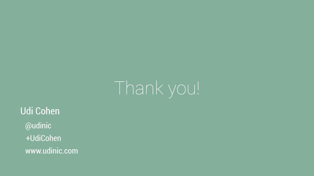 Thank you! @udinic +UdiCohen www.udinic.com Udi...