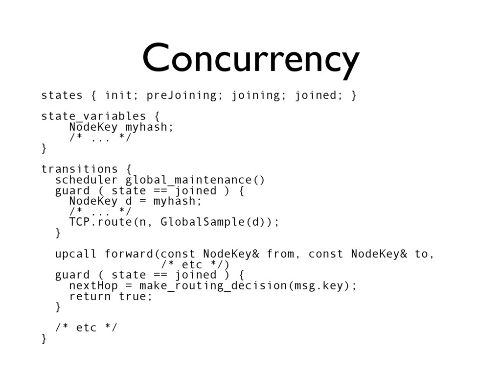 Concurrency states { init; preJoining; joining;...