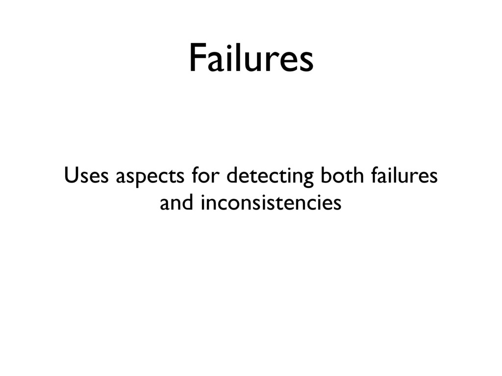Failures Uses aspects for detecting both failur...
