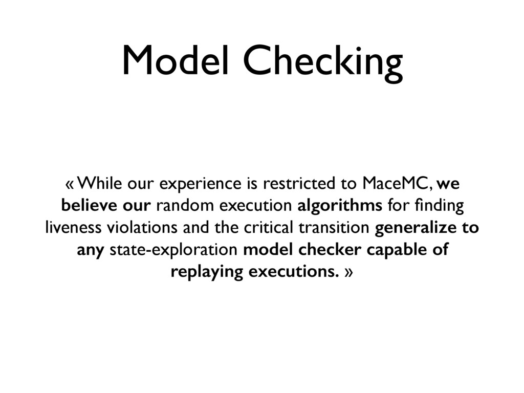 Model Checking « While our experience is restri...