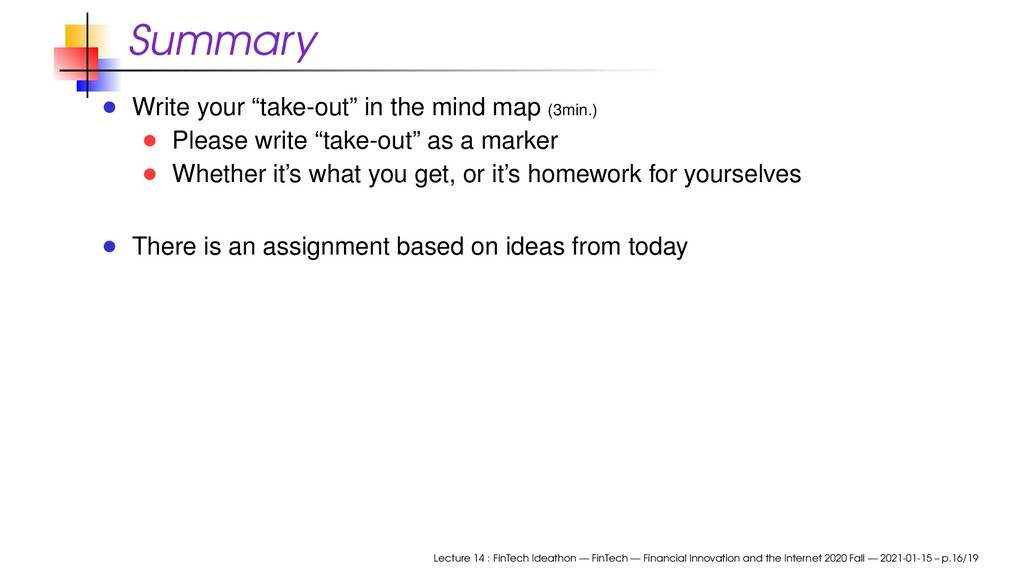 """Summary Write your """"take-out"""" in the mind map (..."""