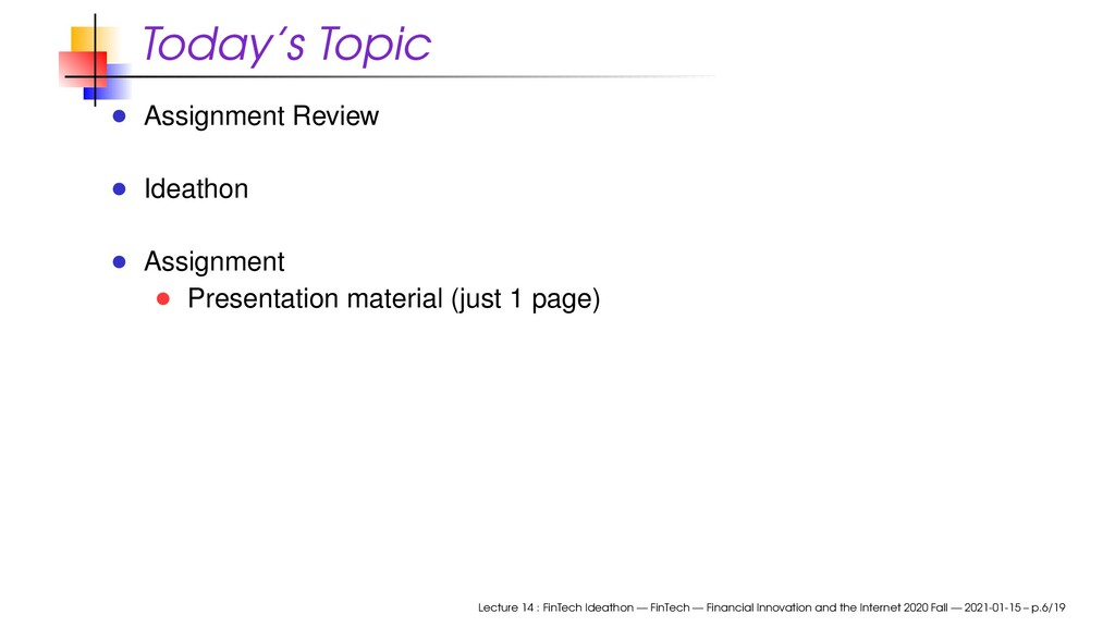 Today's Topic Assignment Review Ideathon Assign...