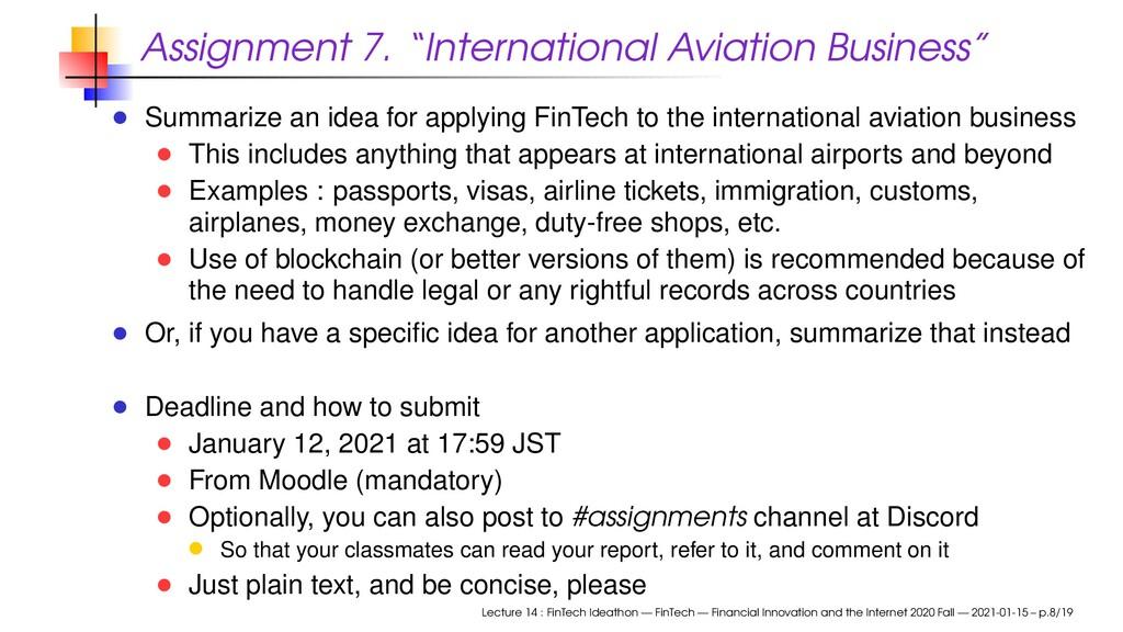 """Assignment 7. """"International Aviation Business""""..."""
