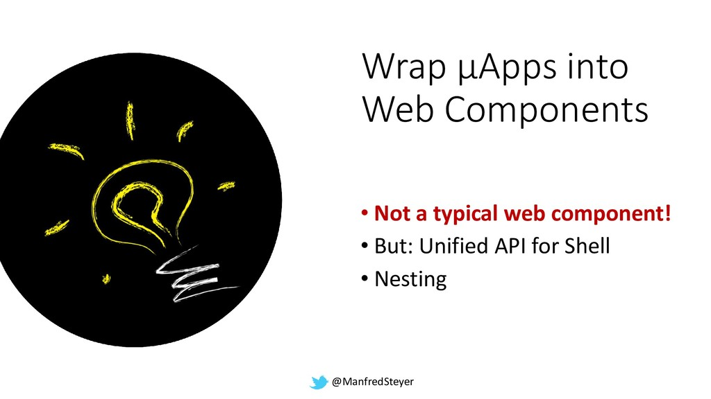 @ManfredSteyer Wrap µApps into Web Components •...