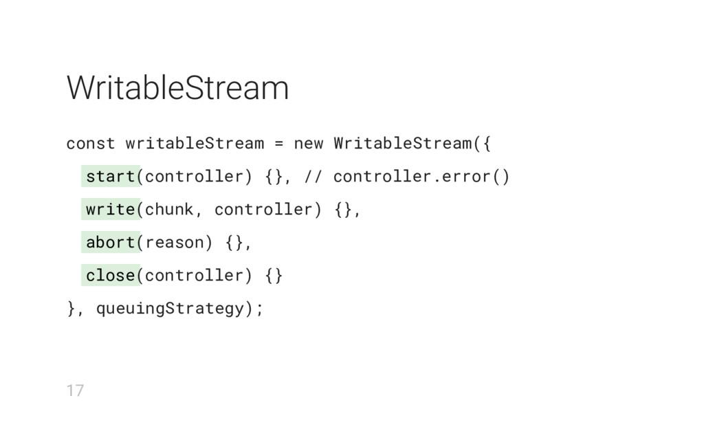 start write abort close WritableStream const wr...
