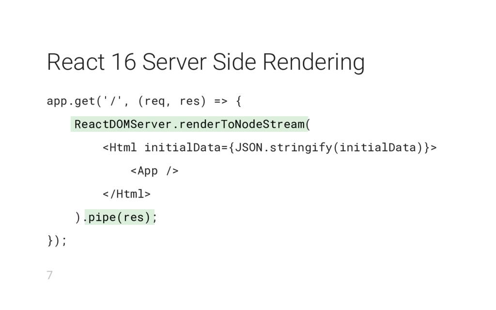 ReactDOMServer.renderToNodeStream pipe(res) Rea...