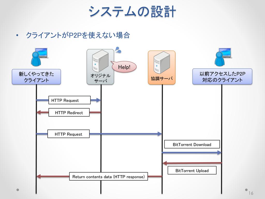システムの設計 • クライアントがP2Pを使えない場合 16 オリジナル サーバ 協調サーバ ...