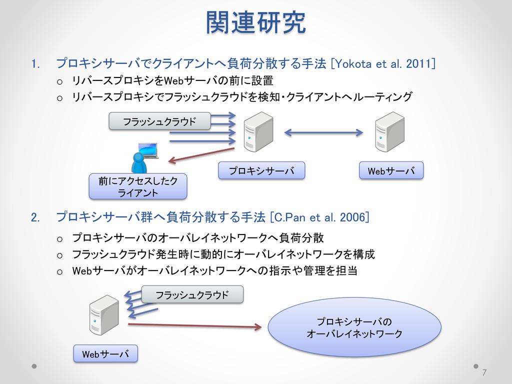 関連研究 1. プロキシサーバでクライアントへ負荷分散する手法 [Yokota et al. ...