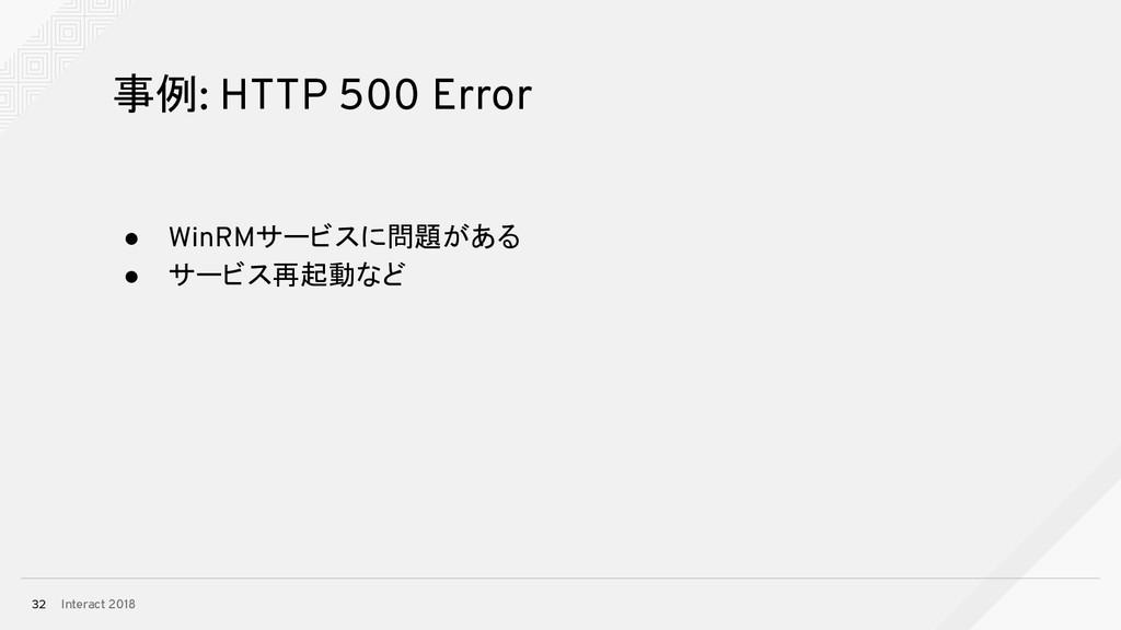 Interact 2018 32 事例: HTTP 500 Error ● WinRMサービス...