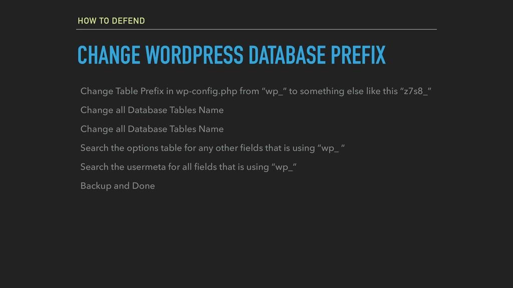 HOW TO DEFEND CHANGE WORDPRESS DATABASE PREFIX ...
