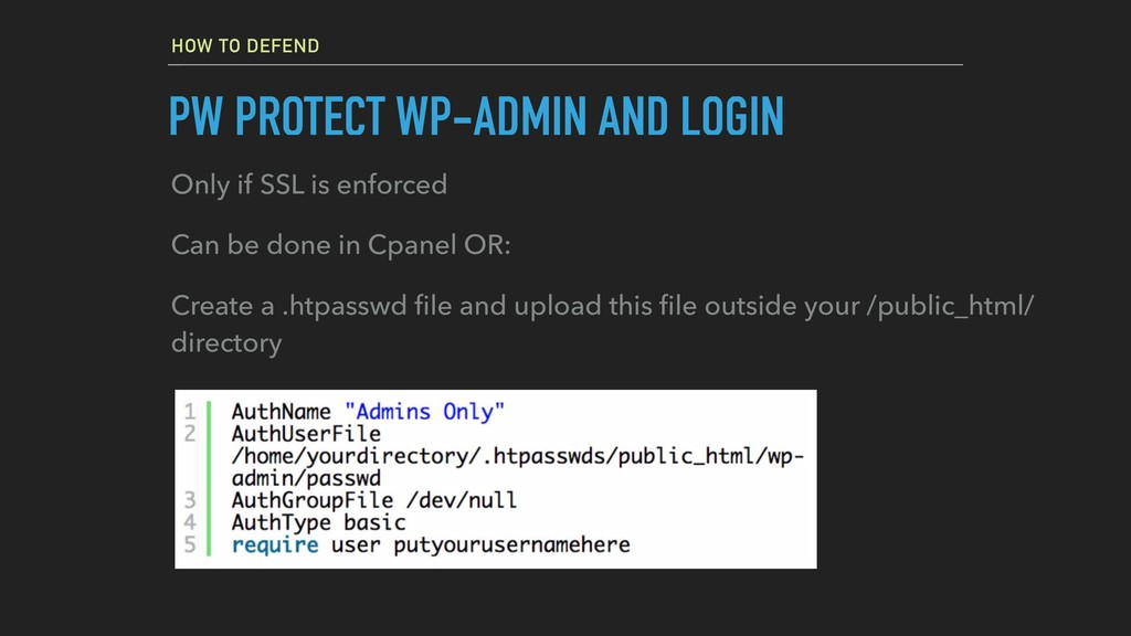 HOW TO DEFEND PW PROTECT WP-ADMIN AND LOGIN Onl...